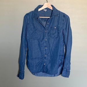 Merona chambray button down long sleeve top size s